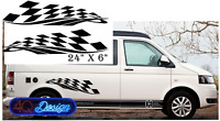 CHEQUERED FLAG SIDE STRIPE X2 Car/camperVan/ caravan/motorhome decal stickers