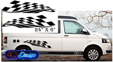 "Large 24""x6""  CHEQUERED FLAG SIDE STRIPE Car/Van/ caravan/ boat Sticker decal"
