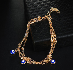Bohemian Pendant Blue Eye Anklet Three Layer Alloy Chain Anklet - Gold
