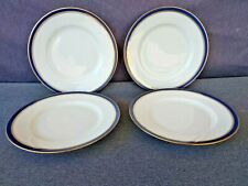 """Raynaud & Co. Limoges France China Diplomat Blue 6 3/8"""" Side Plates - Set of 4"""