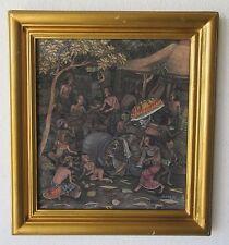 SUSILA VINTAGE MID CENTURY BALI UBUD TRIBAL VILLAGERS NUDE MODERNISM PAINTING