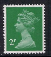 GB QEII Machin Definitive Stamp. SG X1000a 2p Emerald Green. P 15x14 Litho. MNH