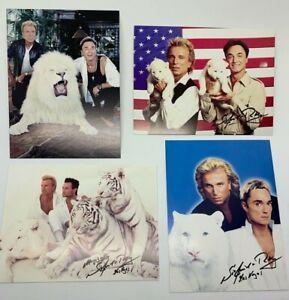 4 Siegfried & Roy Reprint Autographed Pictures 4 x 6 Illusionist Magicians Lion
