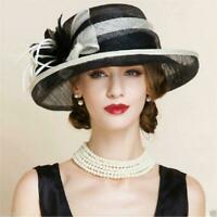 elegant Womens Kentucky Derby Church Wedding Noble Banquet linen hat feather hat