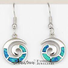 Spiral Shape Ocean Blue Fire Opal Inlay Silver Jewelry Dangle Drop Earrings