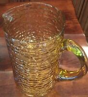 VINTAGE AMBER Textured Cobblestone Pattern Glass Pitcher 64 oz.