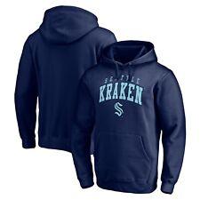 Мужской хоккей НХЛ ВМФ Сиэтл Кракена искусственная саржа темно-синий пуловер толстовка с капюшоном