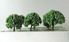 6 x BUSHY GREEN WHITE MODEL TREES 8 cm SCENERY FOR MODEL RAILWAY HO, OO SCALE