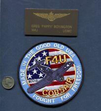 WW2 VMF-214 BLACKSHEEP F4U CORSAIR PAPPY BOYINGTON Squadron Name Tag + Patch