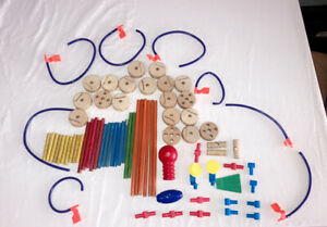 Vintage Wood And Plastic TinkerToy Construction Building Parts Lot - 83 Pieces