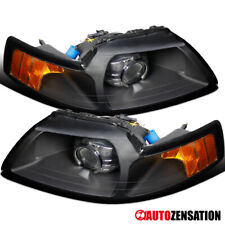 For 99-04 Ford Mustang  New Retrofit Black Amber Projector Headlights