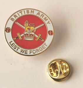 British Army LEST WE FORGET Remembrance Military Enamel Lapel Pin Badge