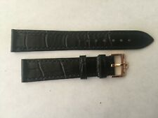18mm Black Leather Band with Rose Gold Buckle For Omega Watch