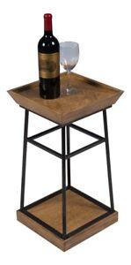 "22"" T Alina Set of 2 Drink Table Quarter Cut White Oak Textured Iron Frame"