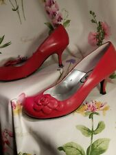 Schuh Red Leather Flower Detail Court Shoes Size 41