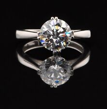 100% 925 Sterling Silver Graceful Round Shape 2.40 Carat Solitaire Women's Ring