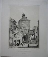 Esslingen Neckar Wolf Thor ORIG litografía kappis J. clavo 1830