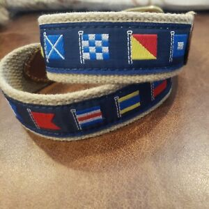 Nautical Flags Boy's  Leather Canvas Belt Size 26 Navy Blue background