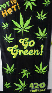 Smoke Weed Pot MJ Go Green Bath BeachTowel 30 x 60