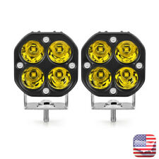2X 40W LED Work Light Spot Pods Bar Driving Yellow Fog Lamp Offroad Truck ATV US