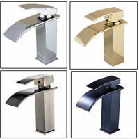 Bathroom Basin Faucet Waterfall Spout Vanity Sink Mixer Tap Deck Mounted