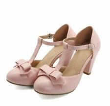 Size 34-48 Womens Ladies T-strap Buckle Round Toe Block Heel Party PumpS Shoes