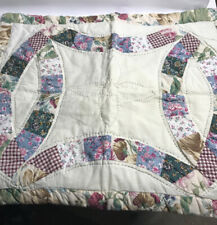 Quilted Standard Size Pillow Shams Pair Pattern Cream Green  Multi