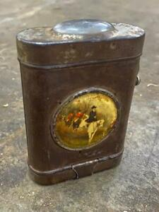 OLD VINTAGE RARE ANTIQUE RUSTIC IRON BATTERY TORCH WITH VICTORIAN LITHO PRINT