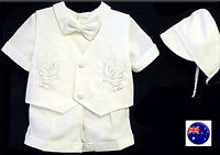 Boys baby child white short sleeves christening shower outfits suits 4 pcs set