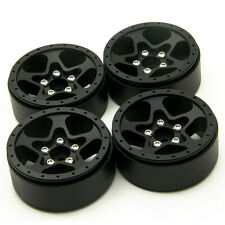 "4Pcs Alloy 1/10 1.9"" beadlock Crawler wheels Rims Set For SCX10 CC01 D90 Black"