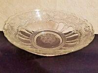 "Vintage 9"" Round Clear Glass Fruit Vegetable Bowl Embossed Ornate Floral Scrolls"