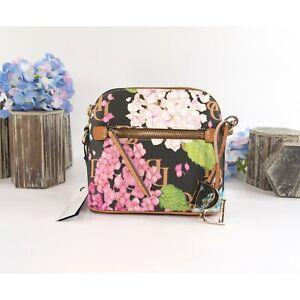 Dooney & Bourke Black Hydrangea Monogram Zip Top Crossbody Bag NWT