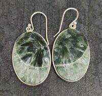 925 Sterling Silver Natural Awesome Seraphinite Oval Cab Gemstone Earrings 1.75""