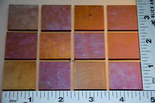"1137.31 - 12 IRIDIZED TRANSPARENT MEDIUM AMBER 1"" x 1"" BULLSEYE GLASS 90 COE"