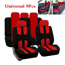 9pcs Black+Red Seat Covers  Universal 5-Seats Car Sedan Seat Covers Universal