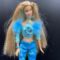 2002 Mattel Pop Sensation Barbie w Headset Doll Long Blonde Crimped Hair BL3