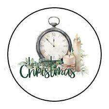 """30 MERRY CHRISTMAS CLOCK CANDLE ENVELOPE SEALS LABELS STICKERS FAVORS 1.5"""" ROUND"""