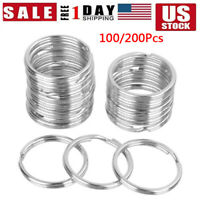 200pcs Silver Keyring Stainless Steel Metal Car Key Holder Split Rings 25mm Lots
