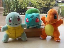 New  TOMY Pokemon Bulbasaur Squirtle Charmander Plush Stuffed Toy Set of 3
