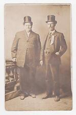 RPPC,2 Men in Their Best Clothes,Top Hats,1 Man is Portly,Azo Photo Paper,c.1912