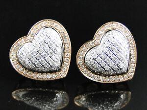 10K Rose Gold White Diamond Heart Shape Stud Earrings 14 mm