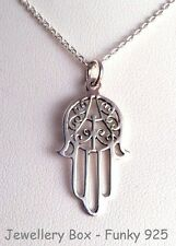 Sterling Silver Hamsa Hand of Fatima Pendant with 18 inch silver chain Good luck