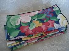 Set of 8 Dark Red/Green/Blue Floral Print Napkins - New