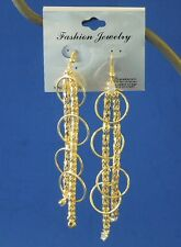 Fashion Earrings Gold Color Braid Chain & Rings Dangle Us Seller Free Usa Ship