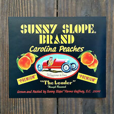 Vintage Original SUNNY SLOPE PEACH Fruit Crate Citrus Box Label 1950s NOS Unused