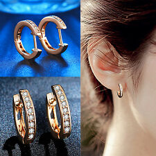 CH Amazing earrings! 18k rose gold filled lady round white topaz hoop earring