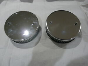 Triumph Hs4 polished stainless air filters washable element 45mm deep