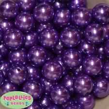20mm Purple Acrylic Faux Pearl Bubblegum Beads 20pc  Chunky Gumball