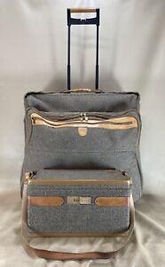 """VTG HARTMANN Tweed Belting Leather Set 24"""" Rolling Garment Bag & 15"""" Train Case"""