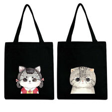 Ladies Canvas Cute Cat Shopping Shopper Bags Girls Beach Shoulder Tote Eco Bag